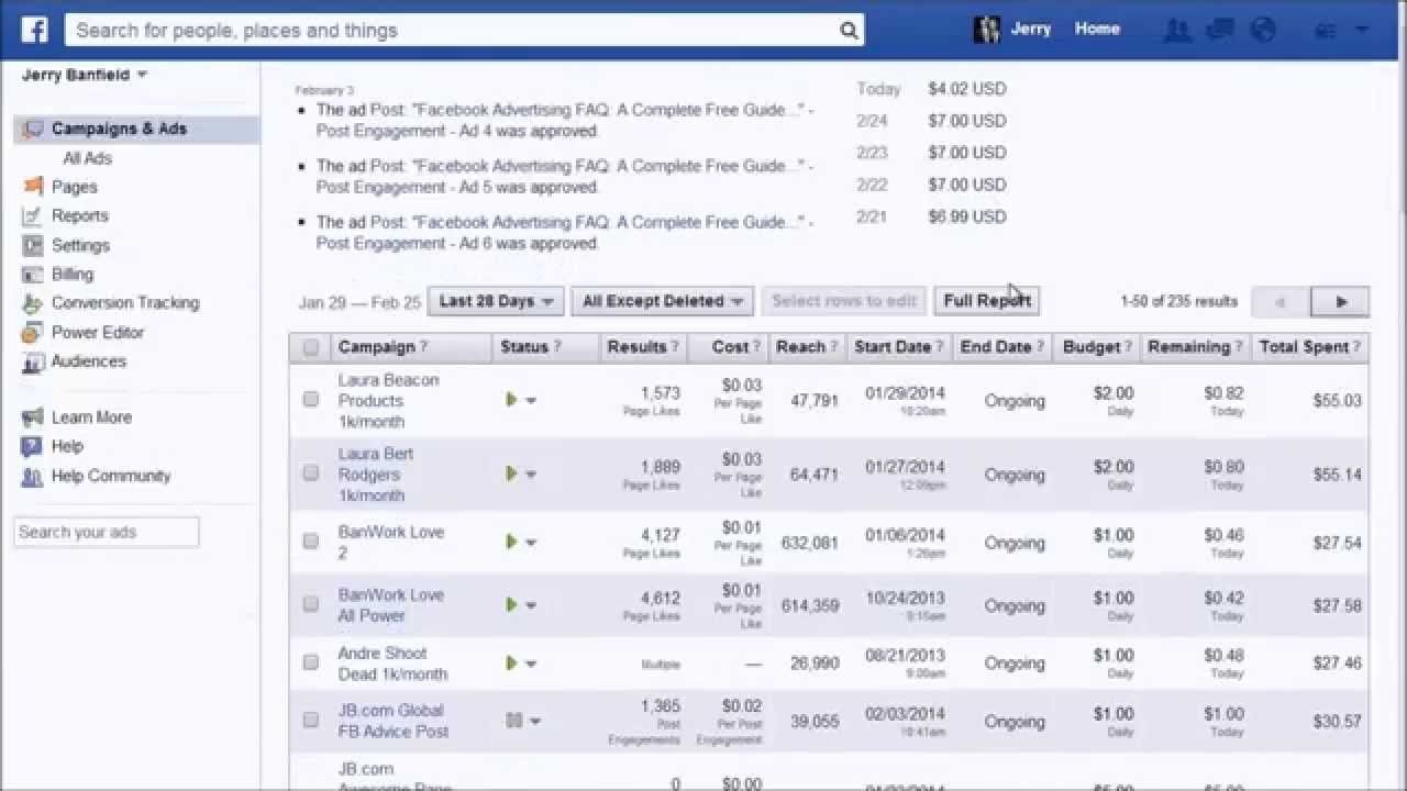 Meet The Facebook Ads Manager Overview Tutorial With Daily Spend 2014  Information