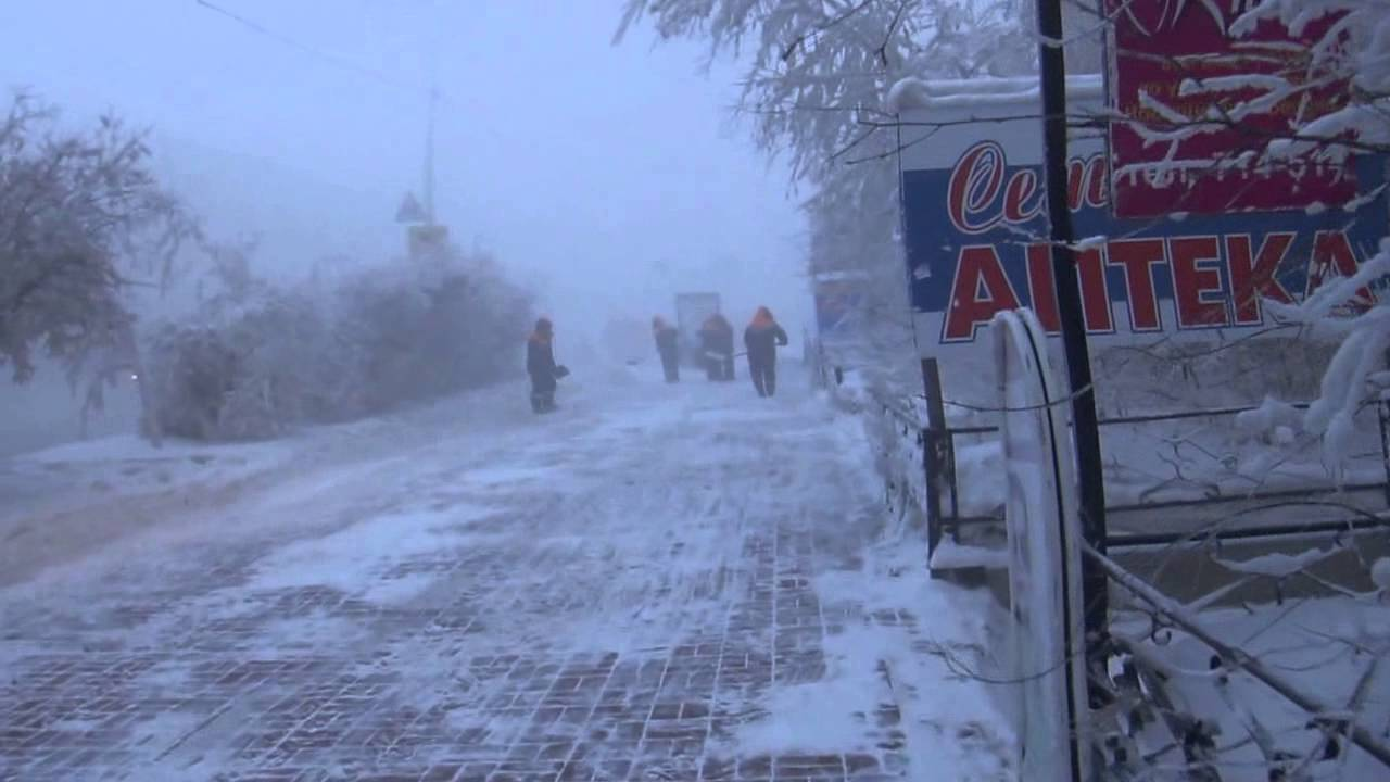 Outside When The 48 Degrees Yakutsk 06 02 2014 当街道霜冻 48度