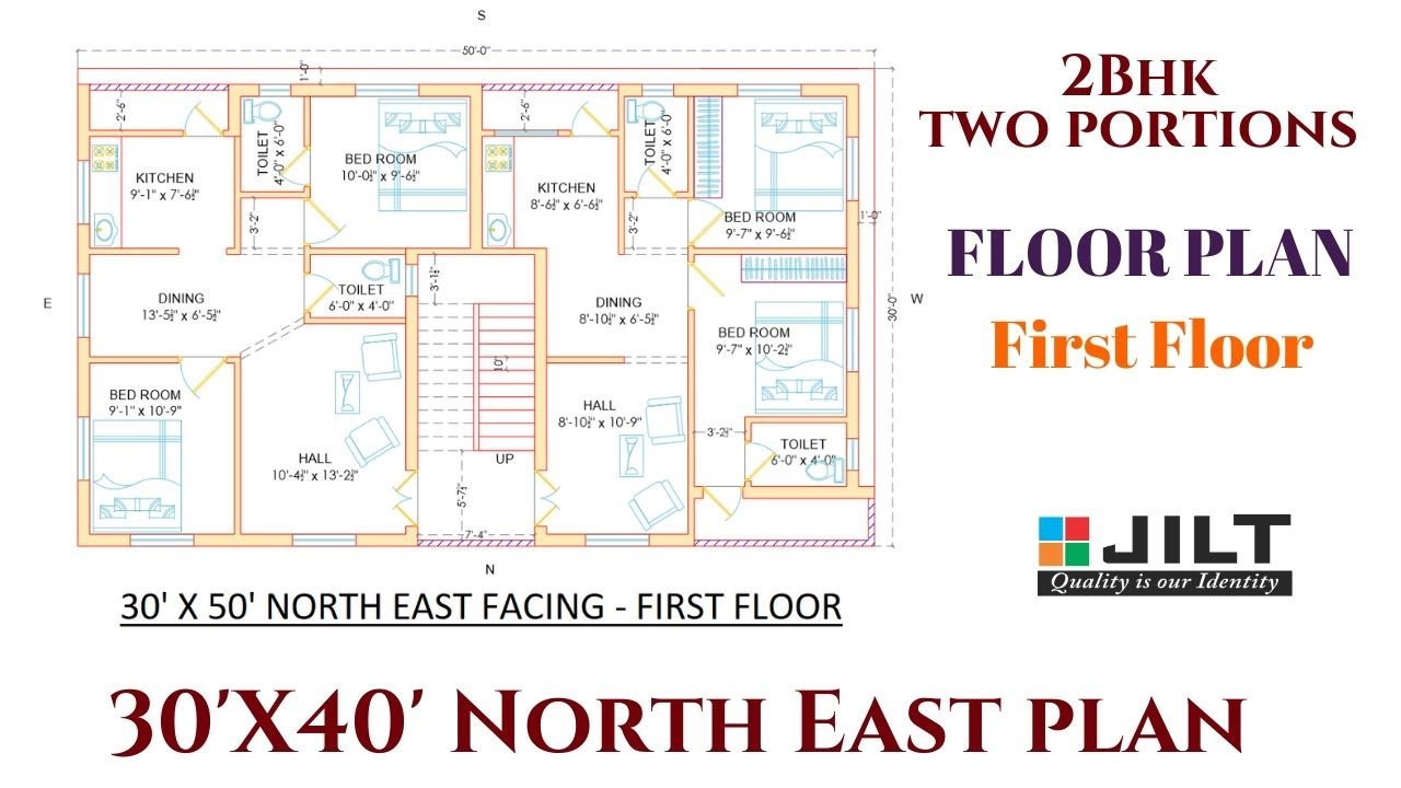 Best Plan 30 X 50 North East Facing First Floor 2bhk 2 Portions Plan 2 Part 2 Youtube