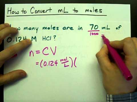 How To Convert Ml To Moles Volume To Moles Concentration Youtube