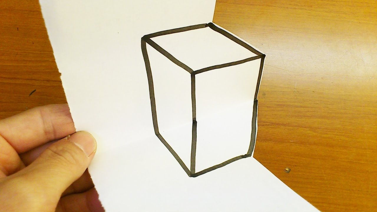 how to drawing 3d box anamorphic illusion for kids youtube
