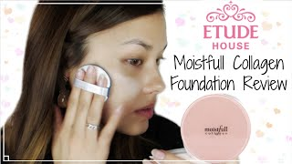 First Impressions ♥ Etude House New Moistfull Collagen Foundation Review 에뛰드하우스 수분가득 콜라겐 파운데이션 리뷰