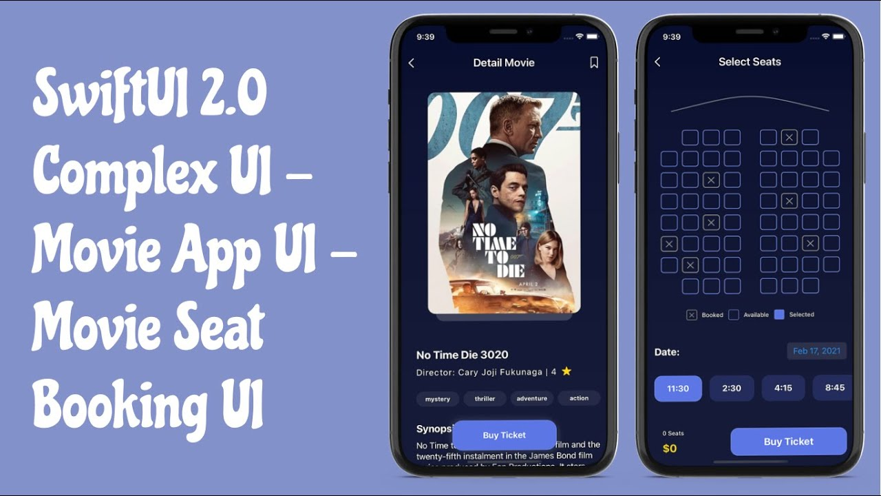 SwiftUI 2.0 Complex UI - Movie Booking App UI - Custom Views