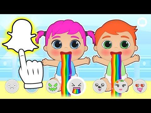 BEBES ALEX Y LILY 👻📱 Se hacen fotos con Snapchat | Dibujos animados educativos