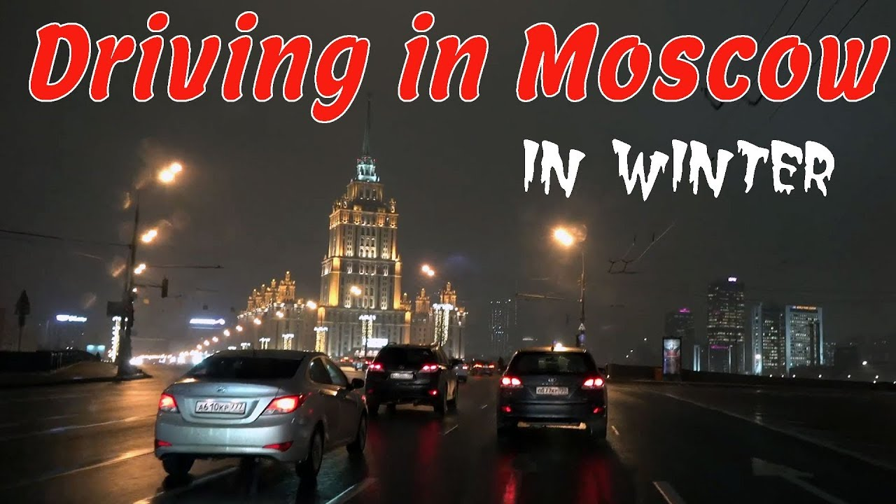 Driving in Moscow Russia in the Winter 4K