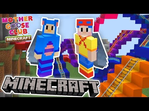 MINECRAFT:  Eep and Jack Roller Coaster Challenge EP 6 | FUN MOD GAMEPLAY | Mother Goose Club