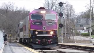 [MBTA/KEOLIS HD] Train Watching: 3 Commuter Rail trains go through Ayer MA (HSP46/GP40MC/ROTEM/BB)
