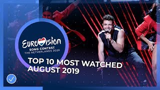 TOP 10: Most watched songs in August 2019 - Eurovision Song Contest