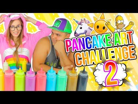 DIBUJOS QUE SE COMEN! Unicornio, Simpsons! PANCAKE ART CHALLENGE 2!! | Katie Angel