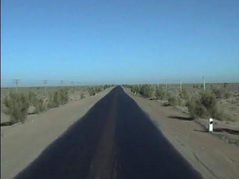 The road in the Kyzyl-Kum desert near  Bukhara  (Uzbekistan)