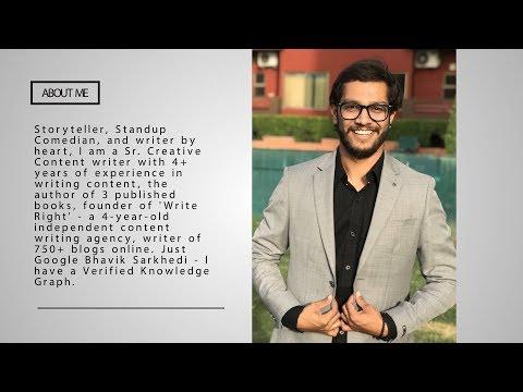 Copywriter | Creative Content Writer | Who is Bhavik Sarkhedi | Resume