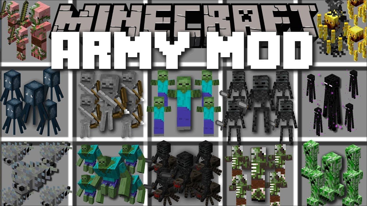 Minecraft ARMY MOD / FIGHT OFF EVIL ZOMBIE APOCALYPSE WITH YOUR OWN ARMY!! Minecraft