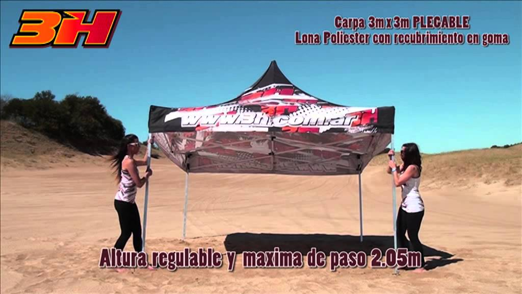 3h carpa plegable 3x3 aluminio youtube - Carpa 3x3 plegable ...