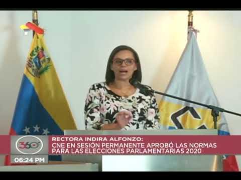 Presidenta del CNE de Venezuela: Aprueban normas especiales para las elecciones parlamentarias 2020