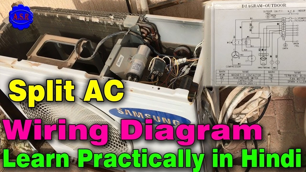 samsung split ac outdoor wiring diagram practically video for newsamsung split ac outdoor wiring diagram practically video for new technician learn in hindi