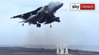 US Navy Harrier Jet Lands On Stool thumbnail
