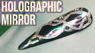 Mirrored Petrol / Holographic Design - Transfer Foil Nail Art
