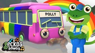 5 Rainbow Buses|Learn Numbers|Fun Educational Videos|Nursery Rhymes & Kids Songs|Gecko's Garage