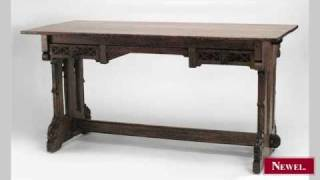 Antique American Mission Oak Table Desk With Gothic Carved