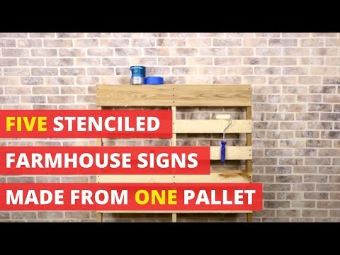 Five Stenciled Farmhouse Signs Made From One Pallet