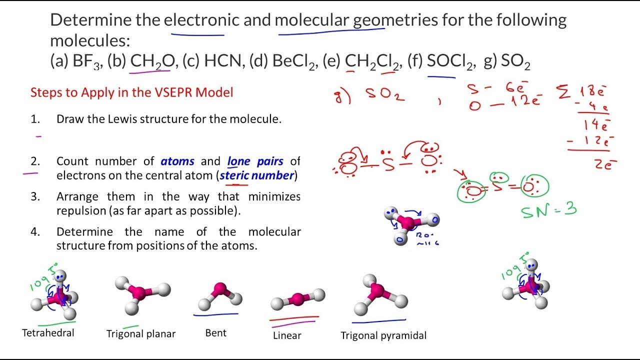 Lewis Diagram So32 Vsepr Theory And Molecular Geometry Bf3 Ch2o Hcn