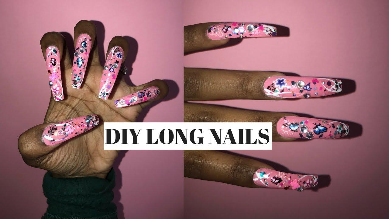 Diy Extra Long Bling Coffin Nails No Acrylic Youtube