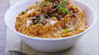 How To Cook Mashed Sweet Potatoes With Goat Cheese And Pistachios