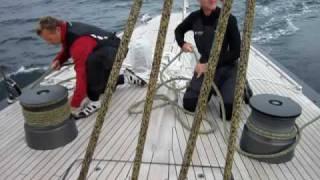 Handling the runners on Hanuman - a J Class Yacht off Newport RI