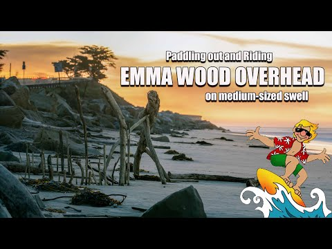 Paddling Out Emma Wood Overhead Riding Ventura Wave All The Way IN