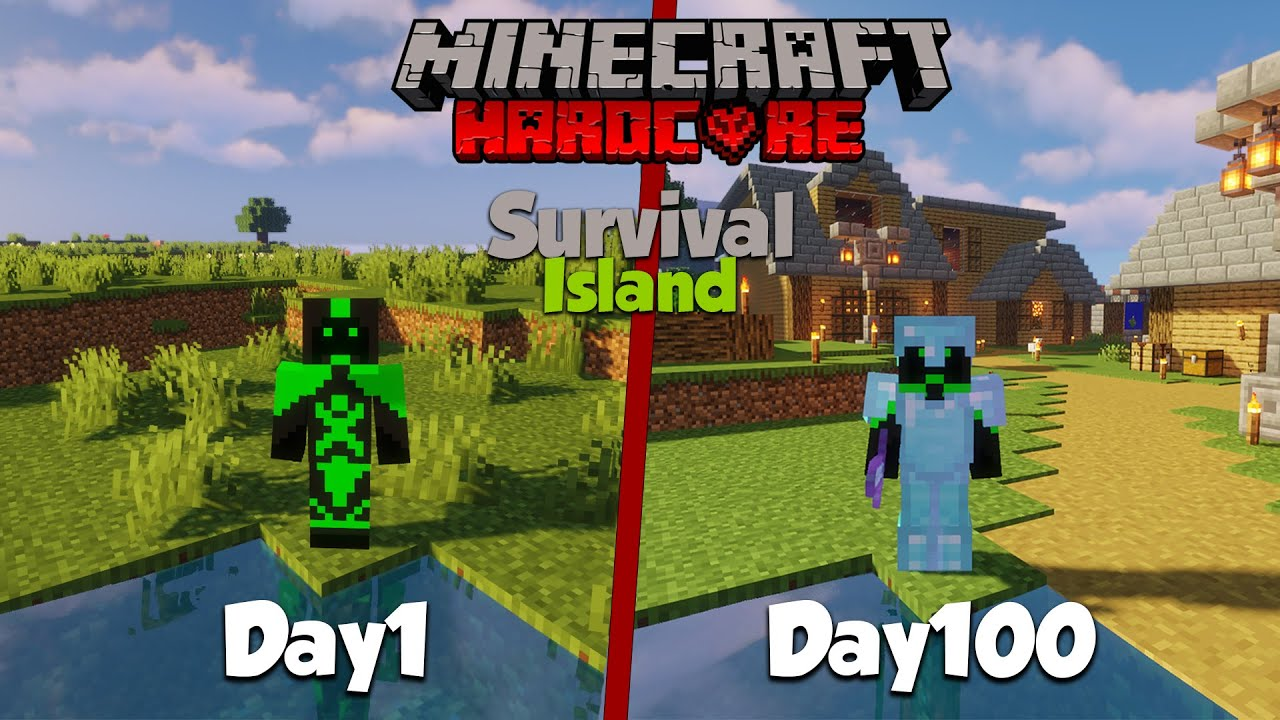 I Survived 100 Days in Hardcore Minecraft, On An Island