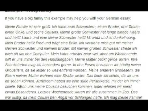 German essay on my family example 2 a big family read out loud