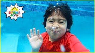 Ryan Pretend Play swimming in the Pool!!