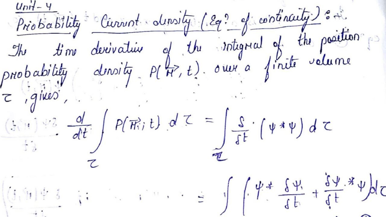 Equation of Continuity derivation (Probability Current Density) in Hindi ||  Unboxing Physics