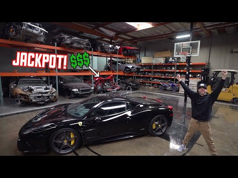WRECKED Ferrari 458 Parts shopping in a EXOTIC Junkyard!