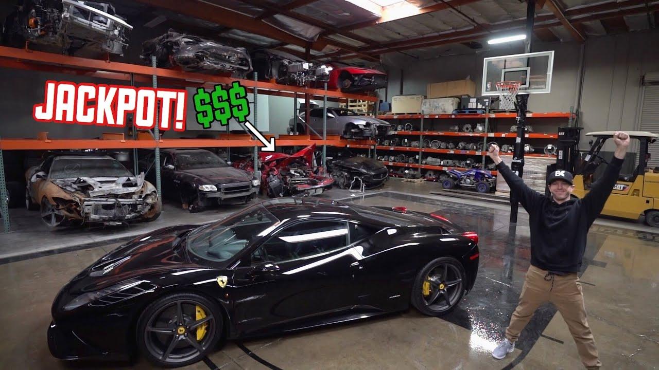 wrecked-ferrari-458-parts-shopping-in-a-exotic-junkyard