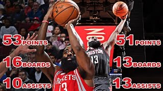 James Harden 1st In NBA History With Two 50 Point Triple Doubles!