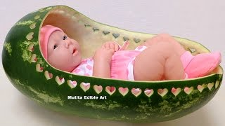 Awsome Watermelon Baby bassinet - Beginners Lesson 52 By Mutita Art In Fruit And Vegetable Carving