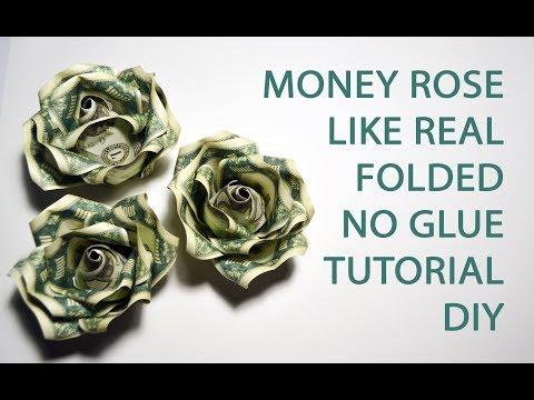 Money Rose like Real Origami Flower Folded No glue Dollar Tutorial DIY