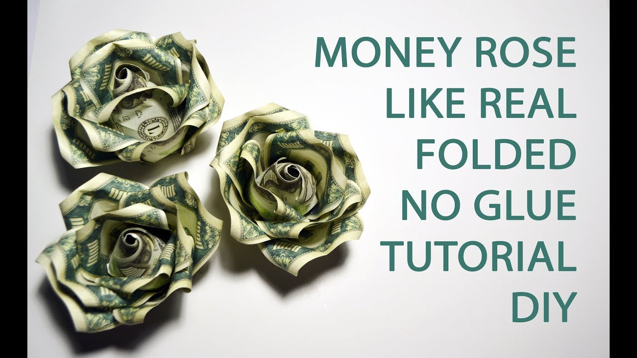 Money Rose Like Real Origami Flower Folded No Glue Dollar Tutorial
