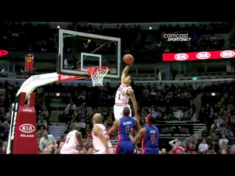 Derrick Rose amazing alley-oop from Ronnie Brewer (Stacey King Call)