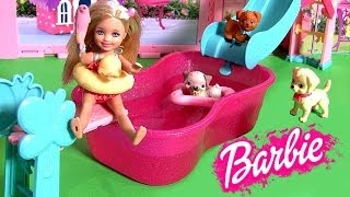 Peppa Pig Flipping & Sliding in Barbie Puppy Pool Party Playset by Disneycollector & Nickelodeon