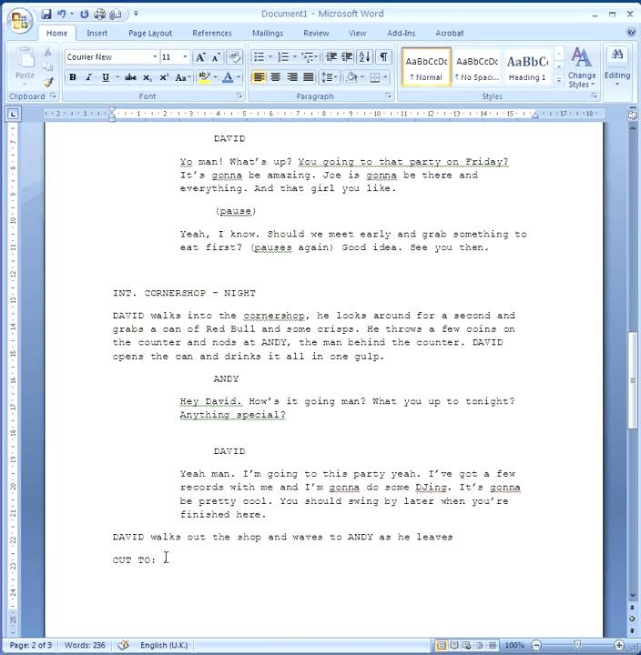 How to write a screenplay without dialogue?