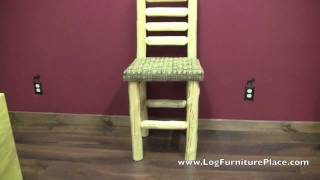 Cedar Lake Upholstered Log Bar Stool From Logfurnitureplace.com