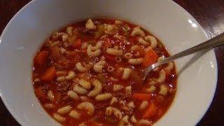 Hamburger Noodle Soup With A Tomato Base