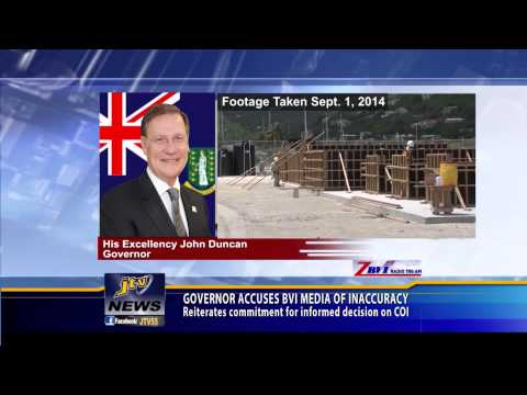 GOVERNOR ACCUSES BVI MEDIA OF INACCURACY