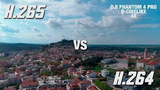 DJI PHANTOM 4 PRO - H.265 VS H.264 - D-Cinelike comparison