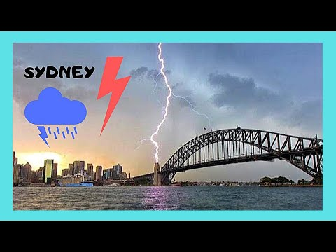 LIGHTNING storm strikes  SYDNEY'S Harbour and  QUEEN VICTORIA cruise ship