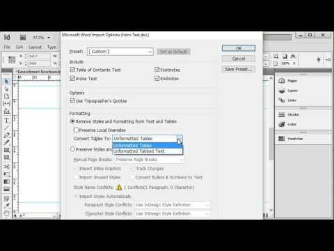 import pdf recipes into indesign
