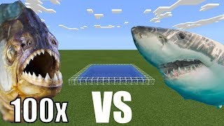 100 PIRANHAS vs WHITE SHARK in Minecraft PE