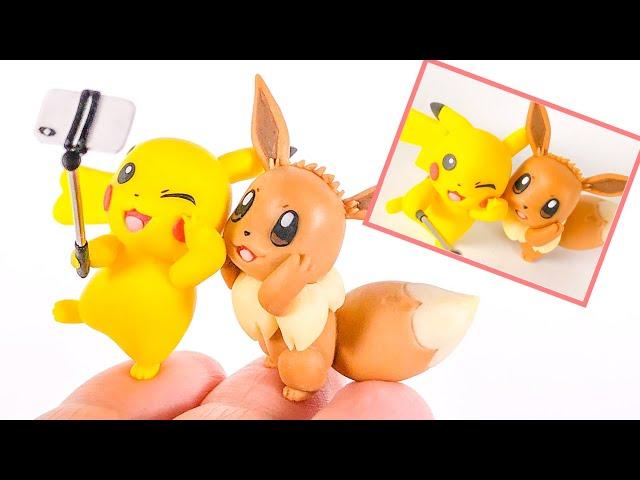 【粘土】自撮るピカチュウ&イーブイ 作ってみた - Pokemon Pikachu and Eevee Polymer Clay Tutorial